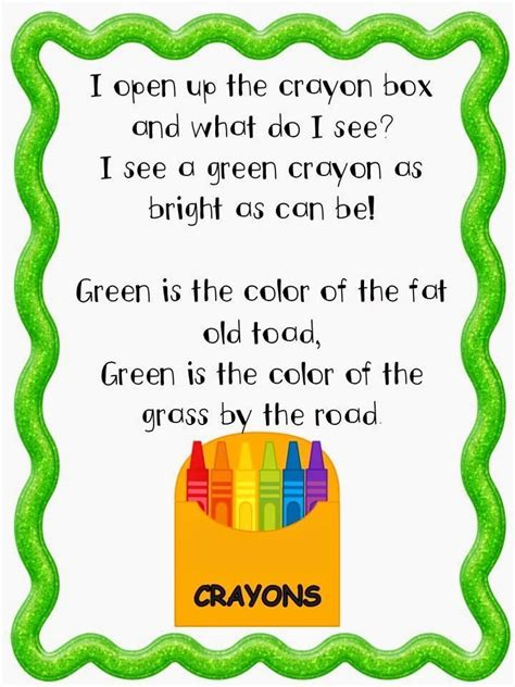 different colors lyrics and different color poems that your students are sure