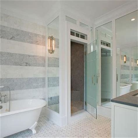 bathroom tile vertical stripe tiled accent wall design ideas