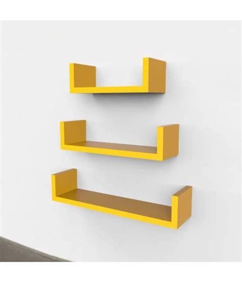 floating shelves set onlineshoppee floating shelves yellow set of 3 buy