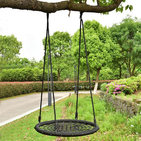 hang tree swing 31 5 quot kids outdoor tree swing round net tool garden