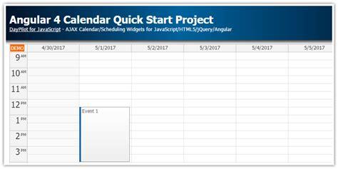 angular calendar quick start project daypilot code