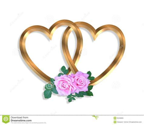 Linked Gold Hearts And Roses 3D Stock Illustration