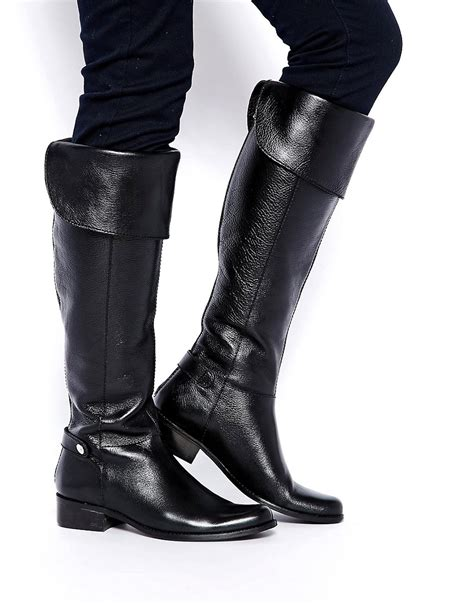 dune dune gully black leather knee boots at asos