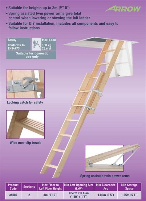 Wooden Loft Ladder With Handrail Abru 34004 Timber Sliding 2 Section Loft Ladder This Is