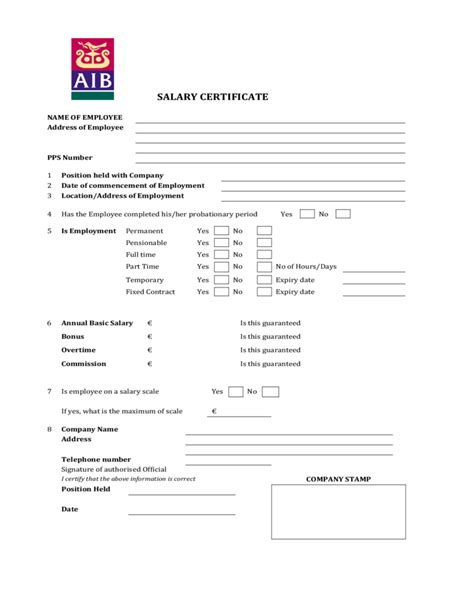 salary certificate form aib free download
