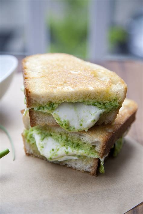 Link Mozzarella And Pesto Grilled Cheese by Garlic Scape Pesto And Fresh Mozzarella Grilled Cheese