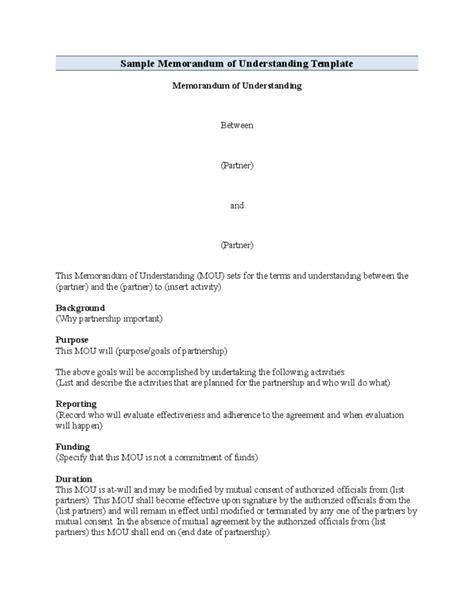 standard memorandum of understanding format free download