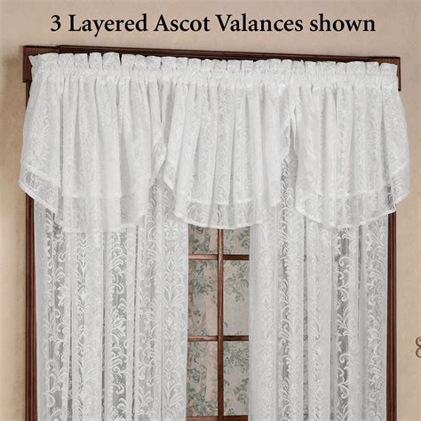 a touch of class curtains mia lace ascot valance 55 x 20 touch of class
