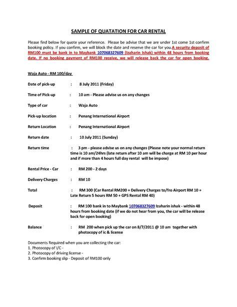 Office Rent Quotation Letter Kereta Sewa Penang Penang Car Rental