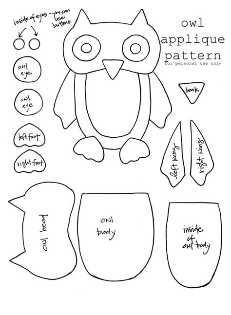 printable owl applique pattern owl template jolies chouettes pinterest