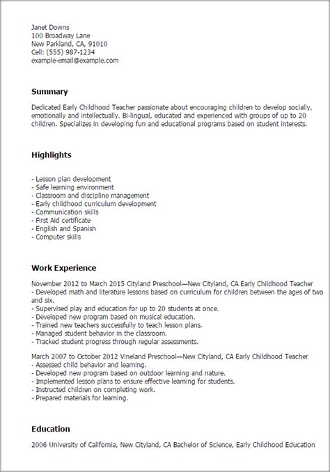 Free Sle Resume Early Childhood Education Professional Early Childhood Templates To Showcase Your Talent Myperfectresume