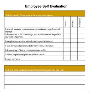 employee self evaluation template sle employee self evaluation form 14 free documents