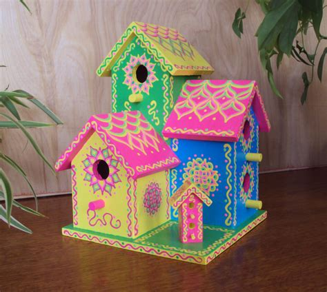 triplex birdhouse handpainted bright colors whimsical pink