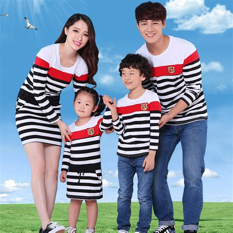 mother and son matching clothes striped family clothing mother and daughter dresses father