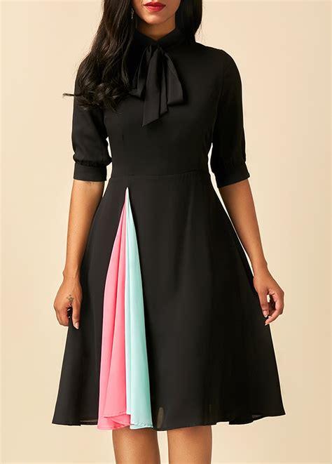 Sleeve Tie Neck Dress patchwork tie neck half sleeve black dress rosewe