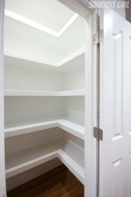 hall closet  floating shelves sawdust girl