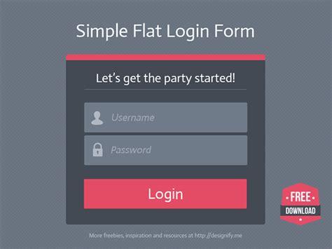 behance login free download simple flat login form on behance