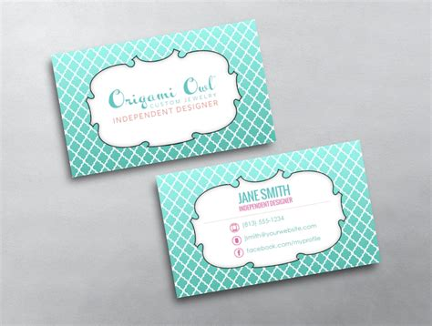 Origami Business Card Template by Origami Owl Business Card 01