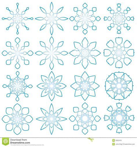 snowflake geometric pattern 16 geometric snowflakes stock vector illustration of