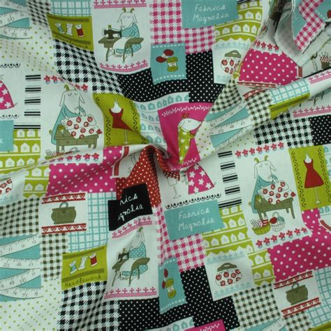 Patchwork Print Fabric - sewing goat patchwork print 100 cotton linen fabric