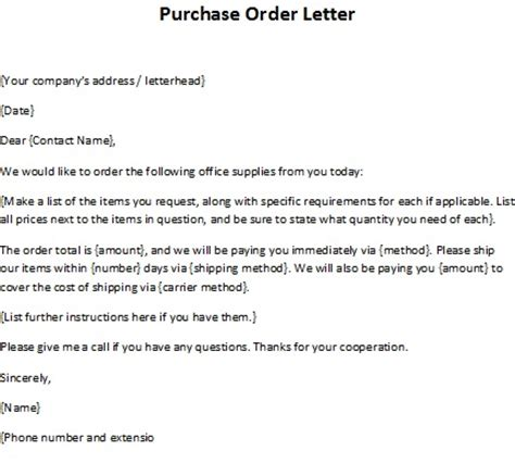 Purchase Order Letter To Supplier Order Letter Sle