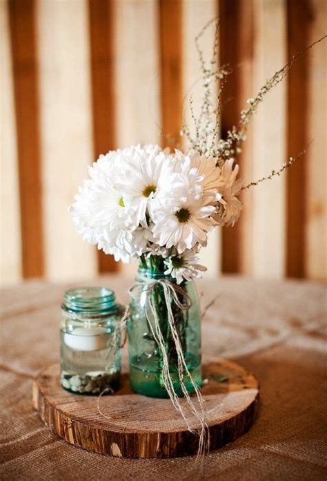 Barn Wedding On A Budget Jar Rock And Wedding Table Wedding Candle Centerpieces On A Budget