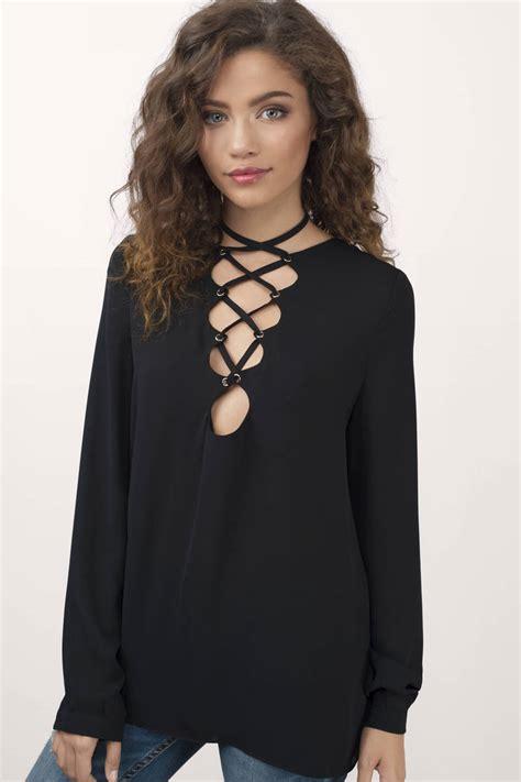 Lace Up Back Blouse black blouse black blouse lace up blouse 54 00