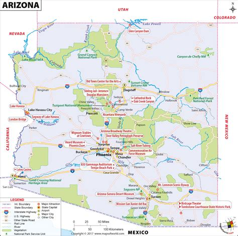 arizona state in usa map arizona map map of arizona az map