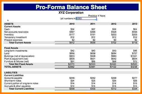 11 pro forma financial statements template