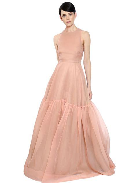 Silk Pink Dress rochas ruffled silk organza maxi dress in pink lyst