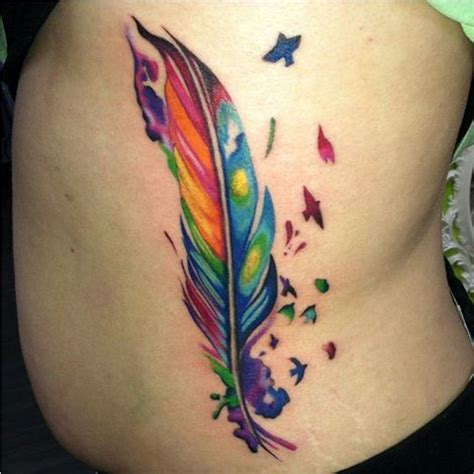 rainbow feather tattoo 45 rainbow tattoos tattoofanblog