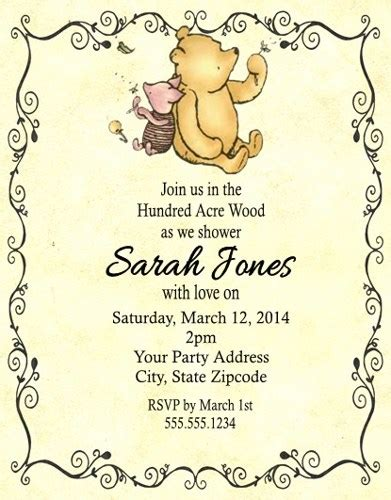 Classic Winnie The Pooh Baby Shower Supplies by Winnie The Pooh Baby Shower Or Birthday Invitations