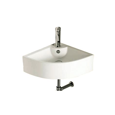 Triangular Bathroom Sinks by Shop Nameeks Ceramica White Wall Mount Triangular Bathroom