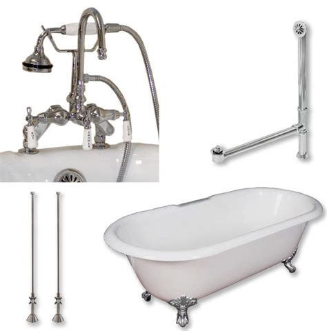 cast iron bathtub faucets cast iron double clawfoot tub 60 quot telephone faucet