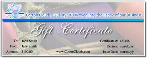 generic gift certificate template cotton clouds mail order yarns purchase gift certificate