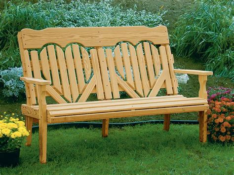wood deck bench amish pine high back heart outdoor wood bench