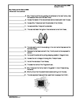 Mrs. Frisby and the Rats of NIMH Whole Book Test by