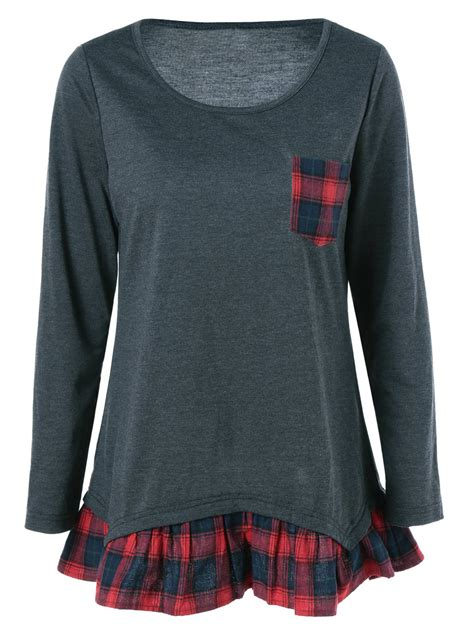 grey pattern blouse plaid pattern pocket falbala blouse in black grey xl