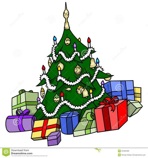cartoon christmas tree december tree with presents stock vector image 34495466