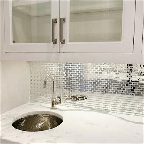 mirrored tiled backsplash contemporary bathroom