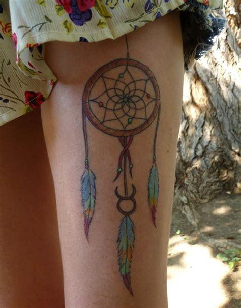 dream catcher tattoo on upper leg 50 sexy upper thigh tattoos for girls