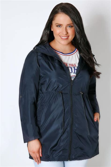 navy shower resistant pocket parka jacket with plus size 16 to 36