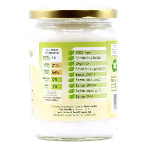 olio di cocco alimentare biologico olio di cocco biologico vergine 500 ml crudo e