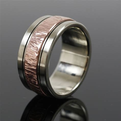 Handcrafted Mens Wedding Bands - crafted mens white gold and copper wedding band by