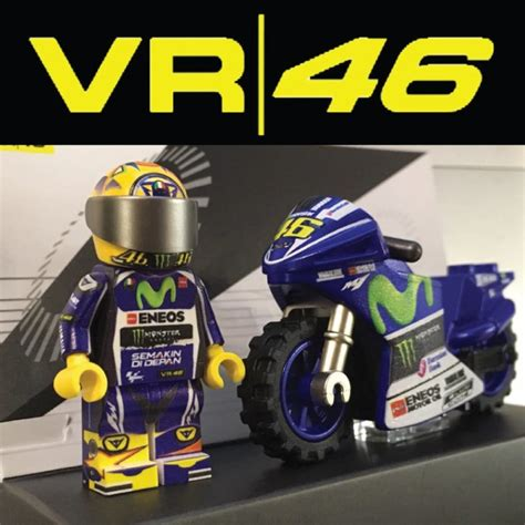 Custom Vr 46 vr46 motorcycle and driver custom printed lego 174 minifigure