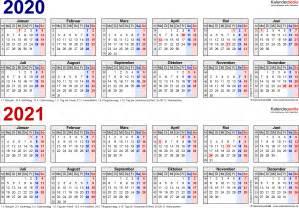 Kalender 2021 Nrw Zweijahreskalender 2020 2021 Als Pdf Vorlagen Zum Ausdrucken