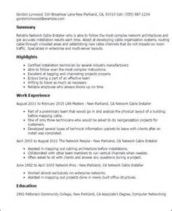 Cable Installer Job Resume