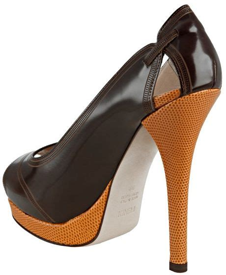 Fendi Peep Toe Leather Platforms fendi mocha leather peep toe platform pumps in brown