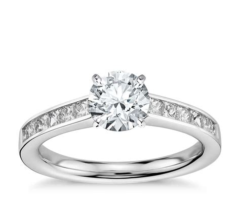 princess cut channel set engagement ring in 14k