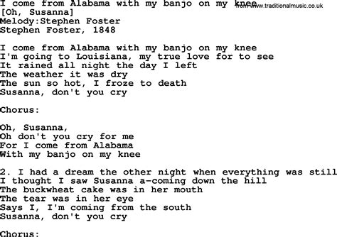 american song lyrics for i come from alabama with